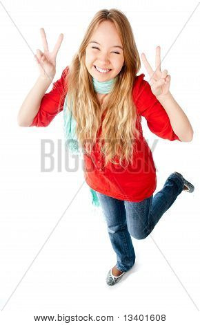 Teenage Girl Showing Victory Sign