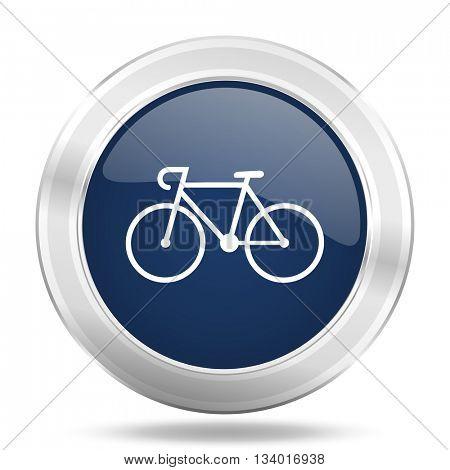 bicycle icon, dark blue round metallic internet button, web and mobile app illustration