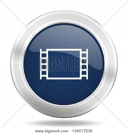 movie icon, dark blue round metallic internet button, web and mobile app illustration