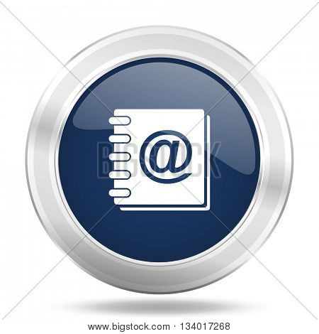 address book icon, dark blue round metallic internet button, web and mobile app illustration