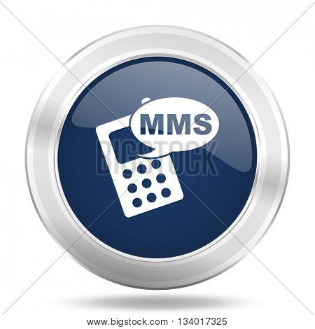 mms icon, dark blue round metallic internet button, web and mobile app illustration