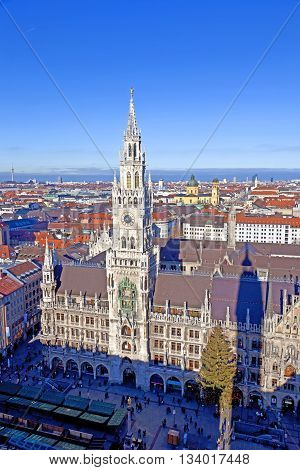 MUNICH, GERMANY - JUNE 9, 2013: aerial of Munich in beautiful weather with old town hall and Marienplatz