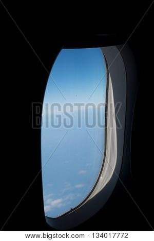View from Window airplane With sky sunny background