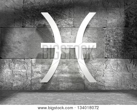 Fish astrology sign. Empty concrete interior. 3D rendering