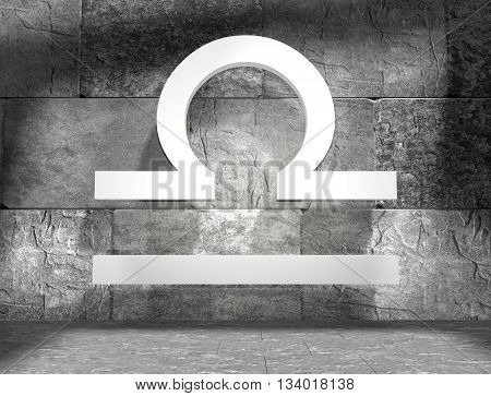 Scales astrology sign. Empty concrete interior. 3D rendering