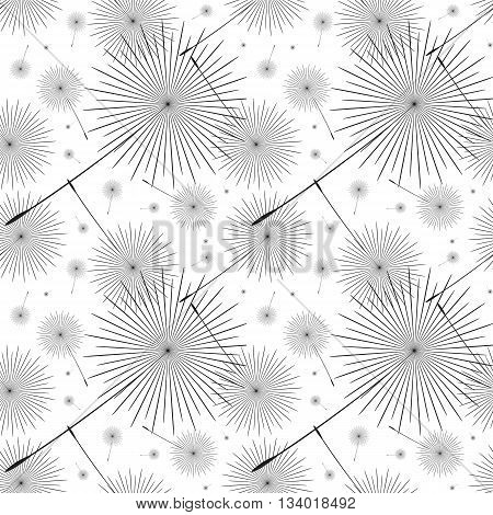 Stylized dandelion background fluff fly. Illustration in black and white style