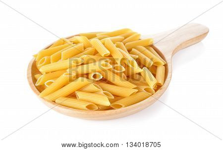 Pene Lisce pasta in wooden plate on white background