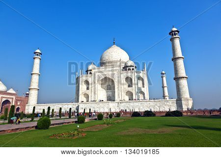 AGRA, INDIA - JUNE 1, 2013: Taj Mahal in Agra from outside on a bright summer day