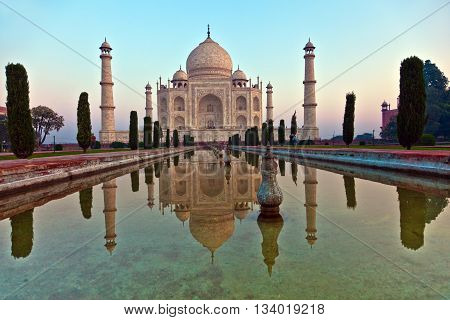 AGRA, INDIA - JUNE 1, 2013: Taj Mahal in Agra from outside on a bright summer morning