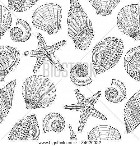 Sea shells. Black and white seamless pattern for coloring book, pages. Vector illustration