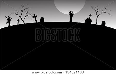 Silhouette of graveyard in Halloween with gray backgrounds