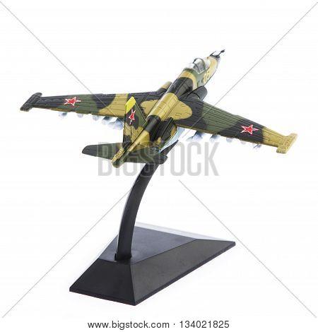Military plane model isolated on white background