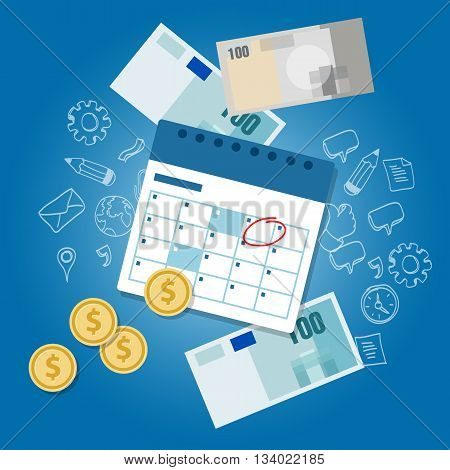 payment schedule day calendar payday deadline money vector