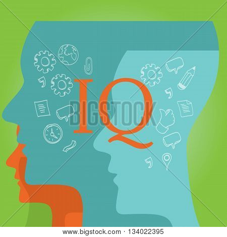IQ intellectual quotient intelligence vector drawing illustration concept
