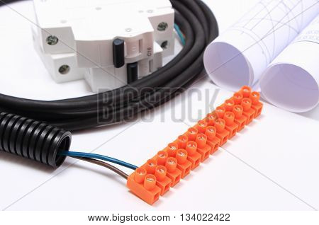 Electrical cable with connection block electric fuse and rolls of electrical diagrams components for installations accessories for engineering work