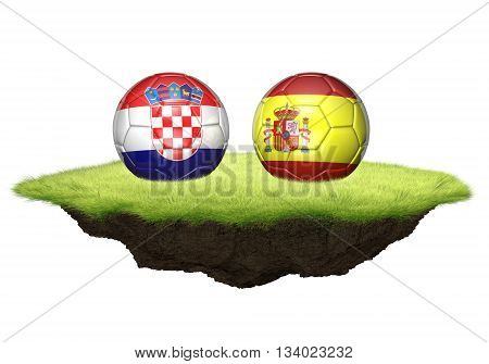 Croatia and Spain team balls for football championship tournament, 3D rendering