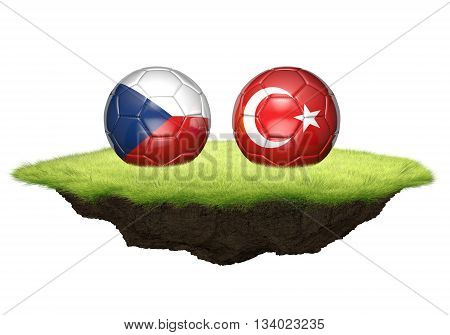 Czech Republic and Turkey team balls for football championship tournament, 3D rendering