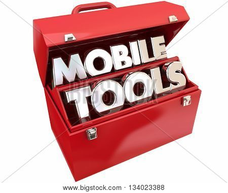 Mobile Tools Mobility Connectivity Online Devices Words 3d Illustration