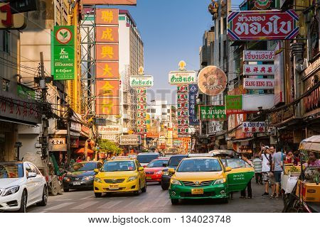 BANGKOK THAILAND - APRIL 24: Car traffic at the Yaowarat road in Chinatown on April 24 2016 in Bangkok Thailand.