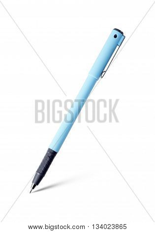 pen isolated on white background blue color