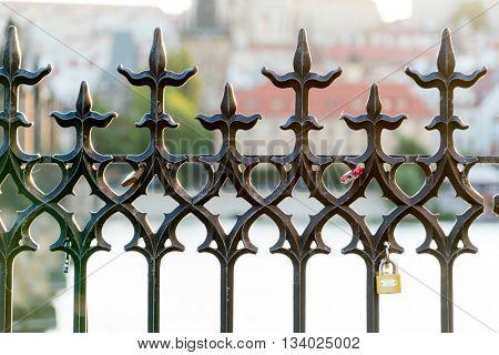 Openwork forged metal fence, Prague