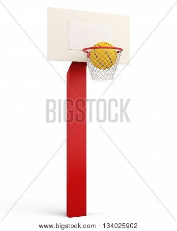 Basketball backboard and ball isolated on white background. 3d render image.