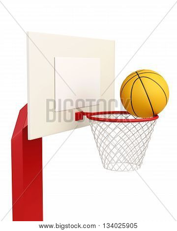 Basketball backboard isolated on white background. 3d rendering.