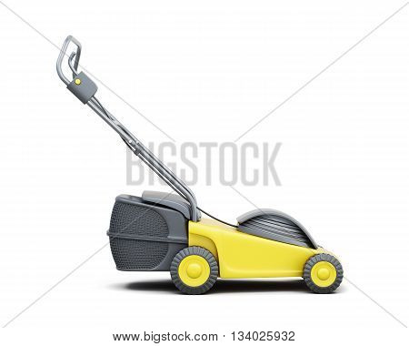 Side view of a lawn mower isolated on a white background. Yellow lawn mower. Electric lawn mower. 3d rendering.