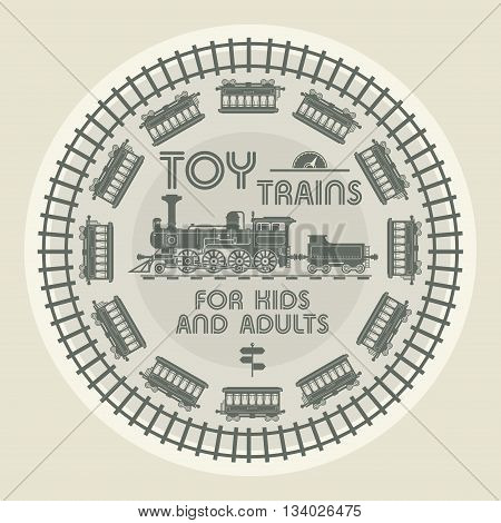Toy Trains abstract label design, vector illustration