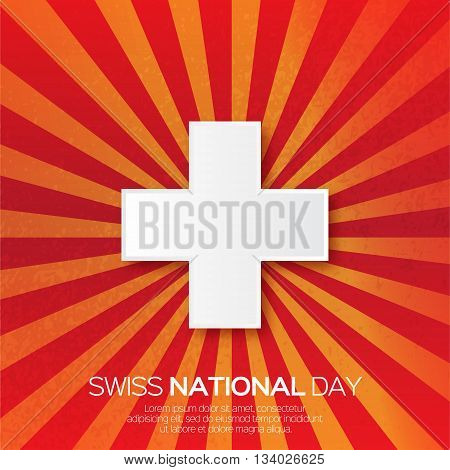 Abstract Swiss National day. Switzerland Independence Day. Origami Swiss Flag International Day with ray background. Paper cut design concept for 1 August. Applique Vector Illustration
