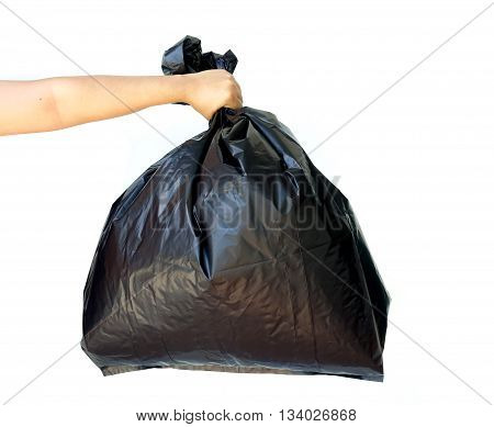 Woman hand holding garbage bag isolated on white background