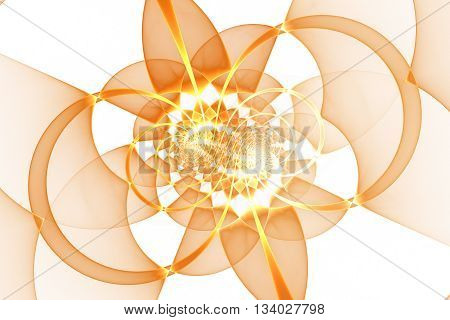 Abstract detailed golden geometrical ornament on white background. Fantasy fractal design in orange and yellow colors.