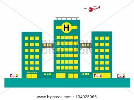 Hospital Building with Air and Land ambulances. Editable Clip Art.