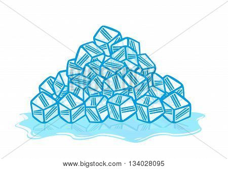 Ice Cubes melting. Solid to liquid phase. Editable Clip Art.