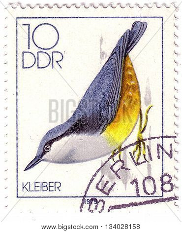 Germany- Circa 1979: Stamp Printed By Germany, Shows Song Birds, Nuthatch, Circa 1979.