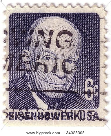 Usa - Circa 1970: A Stamp Printed In Usa Shows Portrait President Dwight David Eisenhower Circa 1970
