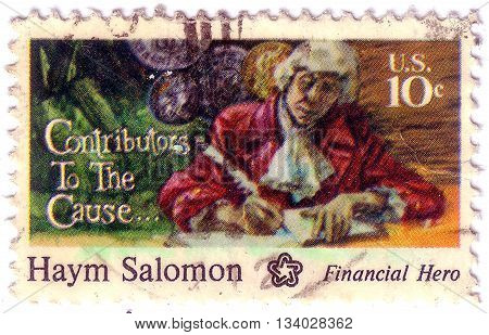 United States - Circa 1975: A Stamp Printed In Usa Shows Haym Salomon, Circa 1975