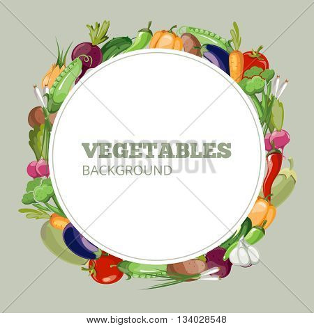 Menu with vegetables. Vector emblem for organic shop healthy food store or vegetarian cafe. Banner of vegetable with pepper and radish. Cucumber and carrot vegetables menu banner illustration