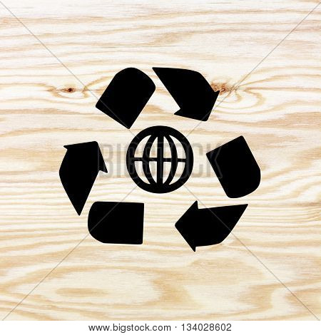 wooden texture with recycle symbol, recycle symbol on wooden background