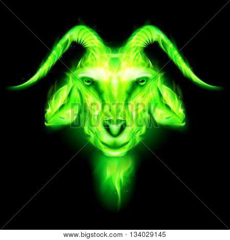 Symbol 2015 green goat on a black background