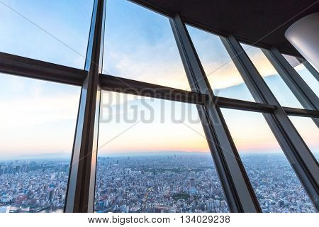 cityscape and skyline of tokyo on view from tokyo television tower