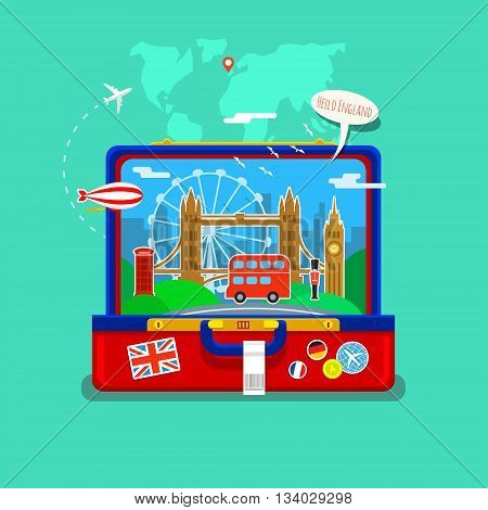 Concept of travel or studying English. English flag with landmarks in open suitcase. Flat design, vector illustration