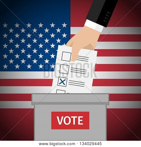 Concept of voting. Hand putting voting paper in the ballot box. US Presidential election 2016. Flat design, vector illustration.