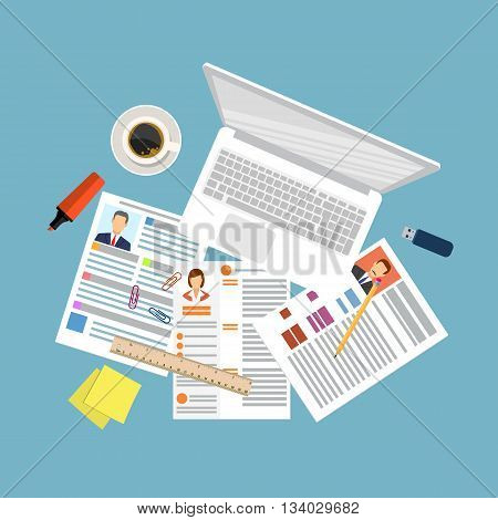 Top view of workplace with documents and laptop. Concepts for searching professional staff, analyzing resume, recruitment, human resources management, work of hr. vector illustration in flat design