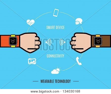 Vector : Two Hand With Smart Watch And Smart Watch Function Icon,wearable Technology