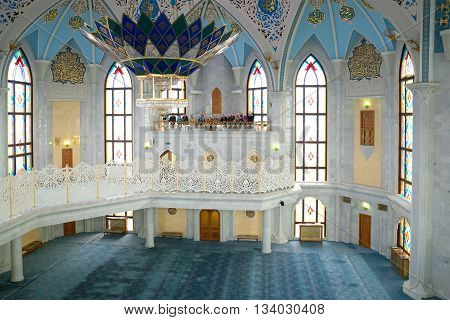 KAZAN, RUSSIA - APRIL 30, 2016: The interior of the mosque Kul-Sharif. The Kazan Kremlin. Religious landmark of the city Kazan