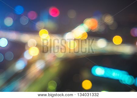 blur of traffic on road junction in nanjing at night