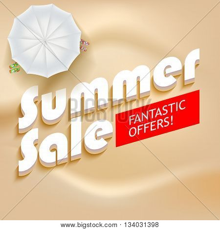Summer sale background. White beach umbrella with flip flops on a background of yellow sand. Volumetric text Summer sale, fantastic offer on a red background. Promotional poster for your business