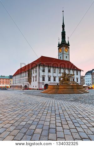 Town hall in the main square of the old town of Olomouc, Czech Republic.