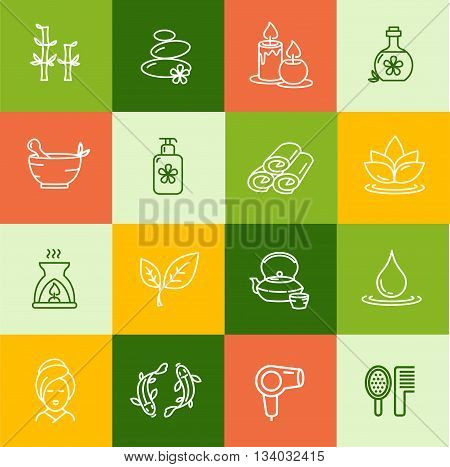 Spa Outline Icon Set for Mobile Applications and Web. Vector illustration